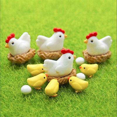 4/8pcs Miniature Hen Chicken Egg Fairy Garden Ornament Bonsai Dollhouse Decor