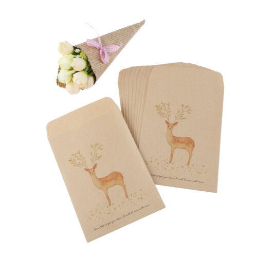 10Pcs Deer Painting Paper Candy Bag Envelopes Christmas Party Favor Gift Bags PB