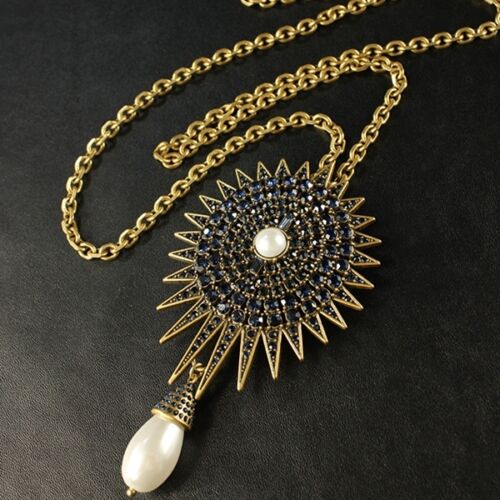 Statement Necklace Pendant Brooch Gold Navy Blue Pearl Sun Drop Vintage OSC3