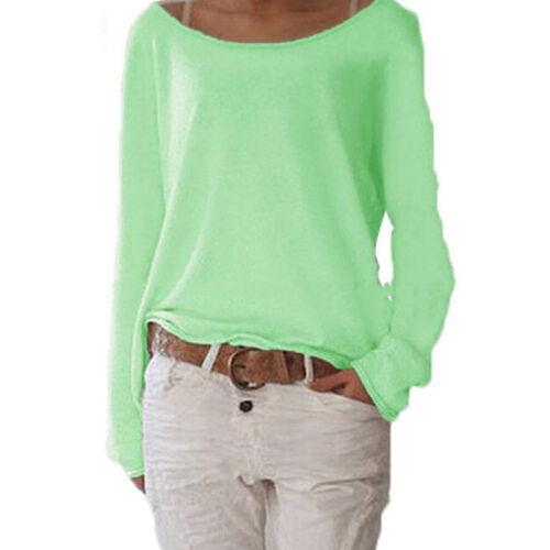 Damen Baggy Langarm T-Shirt Bluse Rundhals Shirts Tops Oberteil Tunika Freizeit