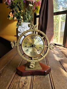 Vintage Quartz Brass Desk Clock  N-S-E-W Table Desk Stand RARE on wood Base