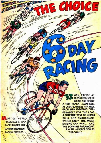 6 day racing vintage comic  Poster reproduction.