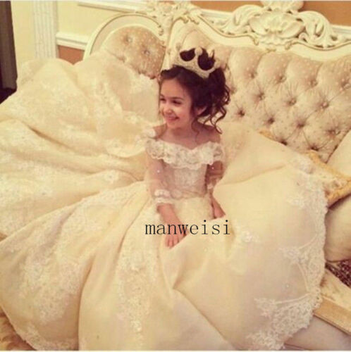Luxury Flower Girl Princess Party Pageant Wedding Bridesmaid Birthday Dresses