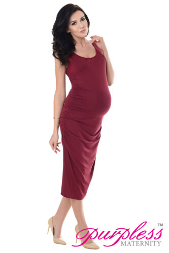 Purpless Maternity Sleeveless Jersey Ruched Pregnancy Midi Dress Dresses 8130