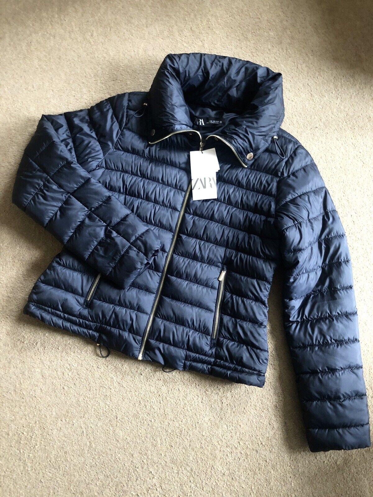 Zara Navy Water Resistant High Collar Puffer Jacket Coat XL UK16 # P28XL