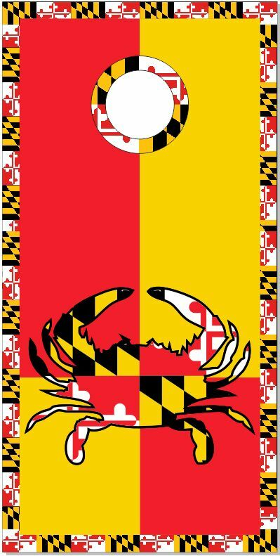 Maryland Flag Crab 2 LAMINATED Cornhole Wrap Bag Toss  Skin Decal  100% free shipping