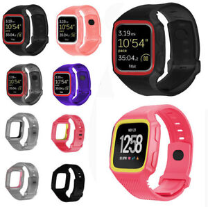 TPU-Armor-Rugged-Slicone-Strap-Watch-Band-Frame-Case-Cover-For-Fitbit-Versa