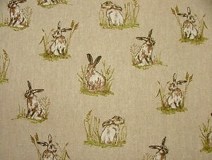 3-Metre-Mini-Prints-Hares-amp-Rabbits-Linen-Look-Fabric-Curtain-Upholstery-Cushion