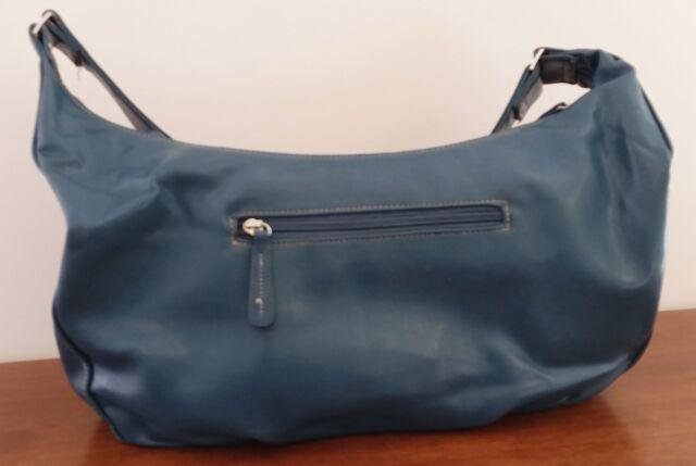 Margaux TEAL BLUE Faux Leather Large Shoulder Bag Wide Strap Zip Closure