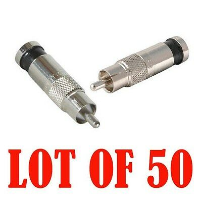 50Pcs RG6 RG-6 RCA Compression Connectors for CCTV Cable Video Audio Cable Wire