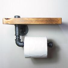 Industrial Wall Mount Iron Pipe Toilet Paper Holder Roller Wood Shelf Bath Decor