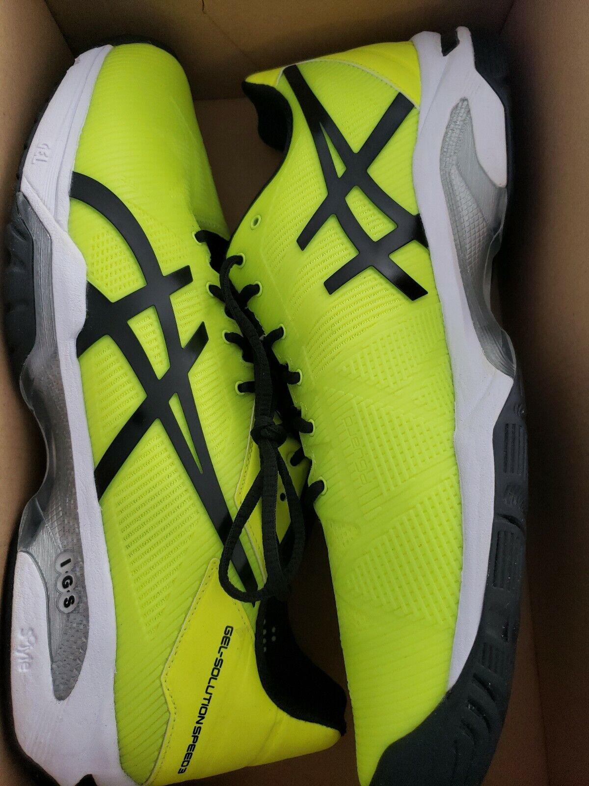 Asics Gel Solución Velocidad 3 Tribunal Tenis Zapato-para Hombres Amarillo Negro WHI
