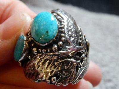 Royston Turquoise ring Artisan Handmade Sterling silver ring Southwestern Jewelry size 5 34