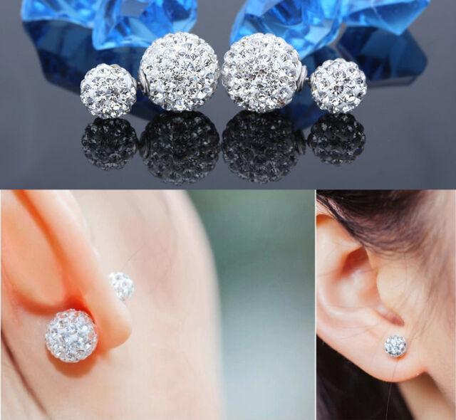Womens 9Silver Plated Silver Double Crystal Ball Ear stud Earrings Jewelry