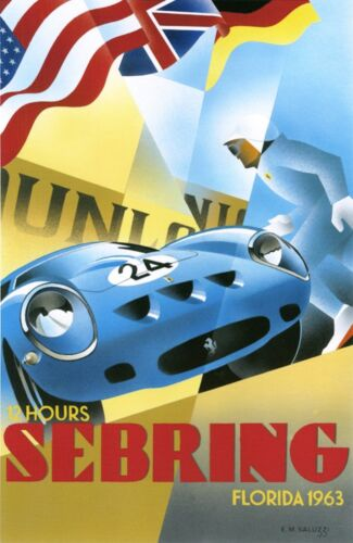 12 Hours Sebring  Florida  Race 1963 Print on Paper /& Canvas Giclee Poster
