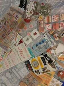 Scrapbooking Lot 45 pieces Stickers, Embellishments, Rub Ons, Die ...