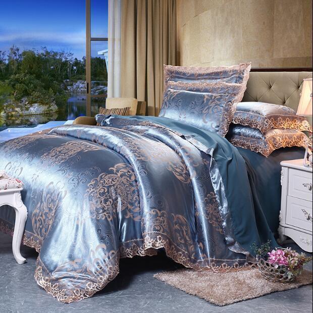 4pcs King Bedding Silk Cotton Blend Duvet Cover Jacquard Queen Case Muk15