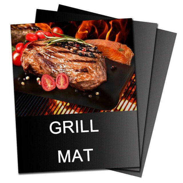 Set of 2-100/% Non-Stick Heavy Duty up to 500 Degrees Fahrenheit Reusable and Easy to Clean GrillerPro BBQ Grill Mats