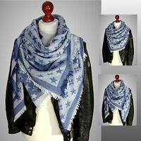 Blogger Schal Tartan Checked Scarf Stola Blumen Flower blue XXL Plaid NEU