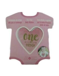 Baby Girl Pink Gold Glitter Monthly 1st Year Milestone Belly Stickers Romper NEW