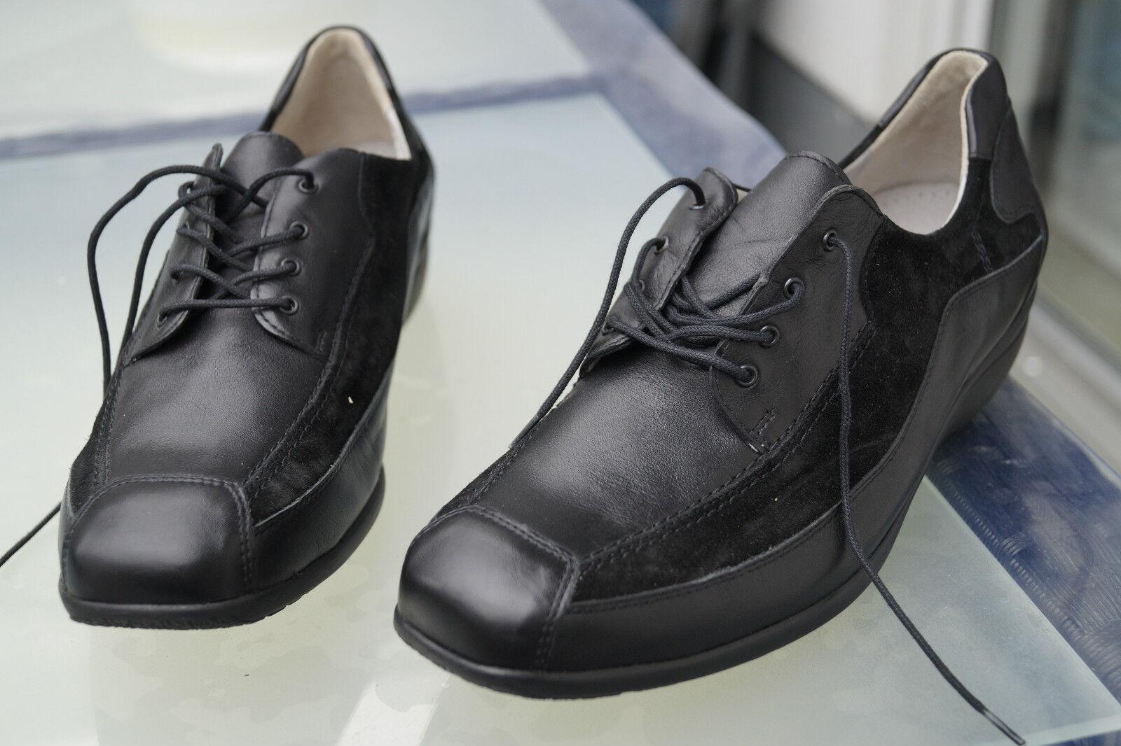 WALDLÄUFER Damen Comfort Schuhe Schnürschuh Leder Einlagen schwarz Gr.8 G 42 NEU