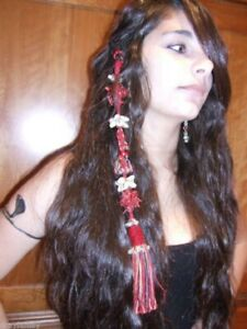 RED-TRIBAL-HAIR-PIECE-BELLY-DANCE-Beads-Bells-amp-Shells-Gypsy-BOHO