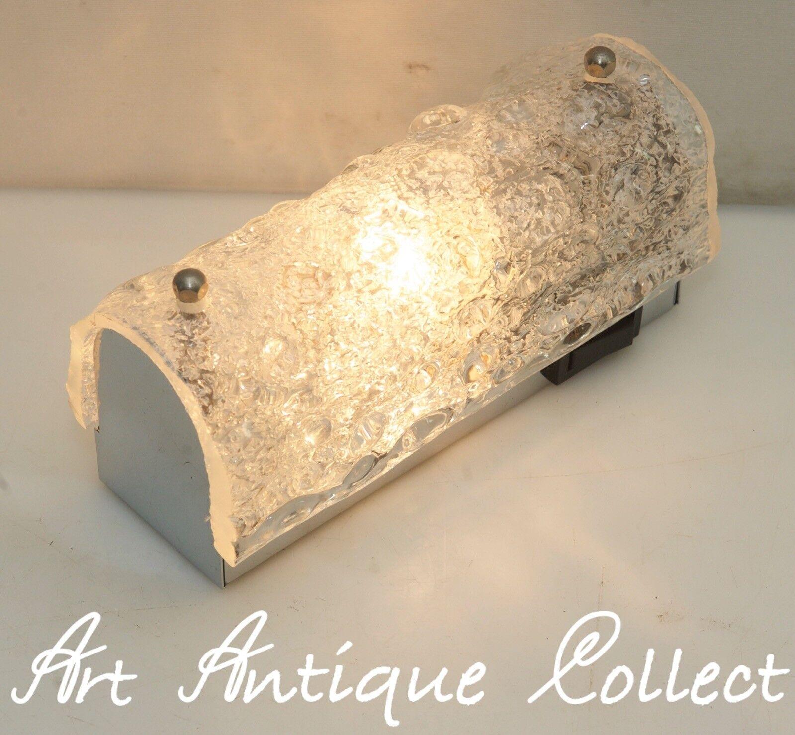 70er Hillebrand Wand Lampe Leuchte Wall Sconce Ice Glass Ein Ausschalter Vintage