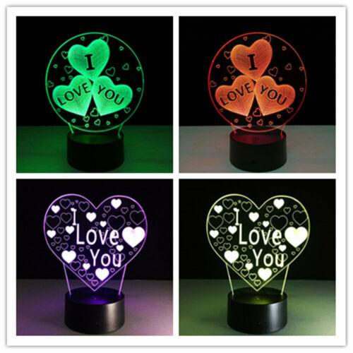 LED I LOVE YOU Liebe Herz Nachtlampe Neu Licht Leuchte Tisch Geschenk