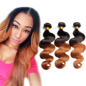 Brazilian-Virgin-ombre-Human-Hair-Extensions-Body-Wave-3Bundle-150g-Weavs-1b-30