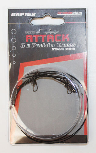 3 Grandeslam wire traces 25cm 20lb for pike,sea or predator fishing