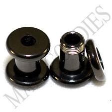 1462 Screw-on / fit Black 4G Gauge 5mm Flesh Tunnels Ear Plugs Earlets Steel
