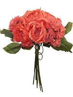 Coral Reef Cabbage Rose Hydrangea Bouquet Silk Wedding Flowers Centerpieces