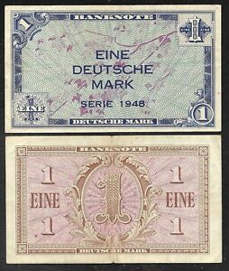 P2a 1948 VF//XF 1 Mark Note West Germany//US Army Command