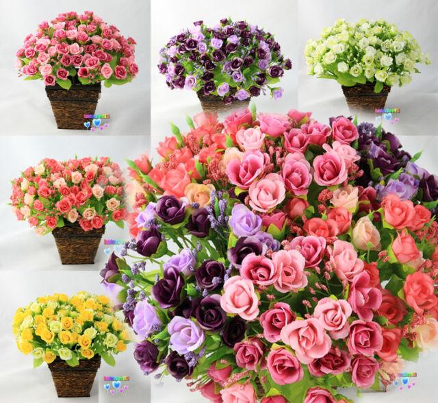 6 Bouquets 126 pcs Roses Artificial Silk Flower  Floral Bouquet/Wedding  F37