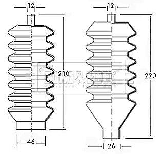TRIUMPH HERALD 1.3 Steering Rack Boot 67 to 71 Gaiter Bellow B/&B RTC2218 RTC2219
