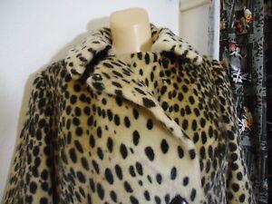 361e3b63cf07 True Vtg 1960s Double Breast Leopard Animal Faux Fur Coat UA 40 As ...