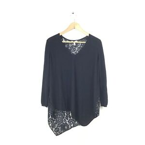 Joie-Sweater-XS-Black-Top-Lace-Asymmetrical-V-Neck-Long-Sleeve-Tambrel-B-Women-s