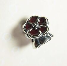 Pandora S925 ALE Red Poppy Flower / British Rose Charm With Tissue & Pop-up Box