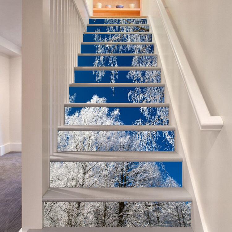 3D Schnee Baum 467 Stair Risers Dekoration Fototapete Vinyl Aufkleber Tapete DE