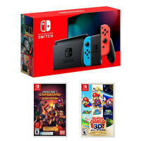 Nintendo Switch 32GB Console with Neon Blue & Neon Red Joy-Con Controllers (2019 Latest Model) + Minecraft Dungeons Hero Edition + Super Mario 3D All-Stars