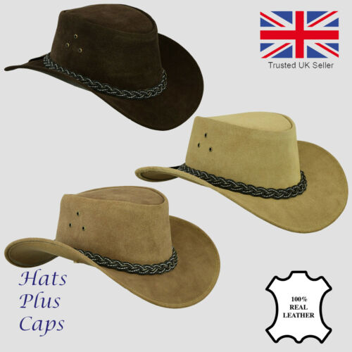 Real Leather Cowboy Hat Australian Suede Bush Outback American Western Sun Ranch