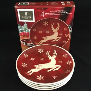 Set-of-4-Dessert-Plates-7-034-by-Gibson-Home-Burlap-Reindeer-Christmas-Rustic-NEW
