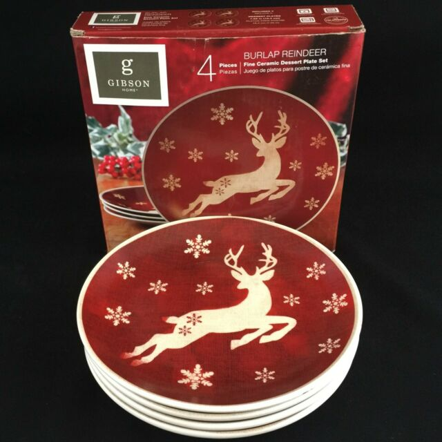 "Set of 4 Dessert Plates 7"" by Gibson Home Burlap Reindeer Christmas Rustic NEW"