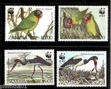 Zambia 1996 WWF Stork & Black Cheek Lovebird Birds Wildlife Sc 654-57 MNH # 208