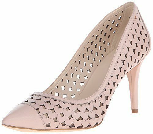 Nine West Porcupine Leather 7.5 7.5 7.5 M Light Natural Beige Nude Pump Pointed Stiletto 279a31