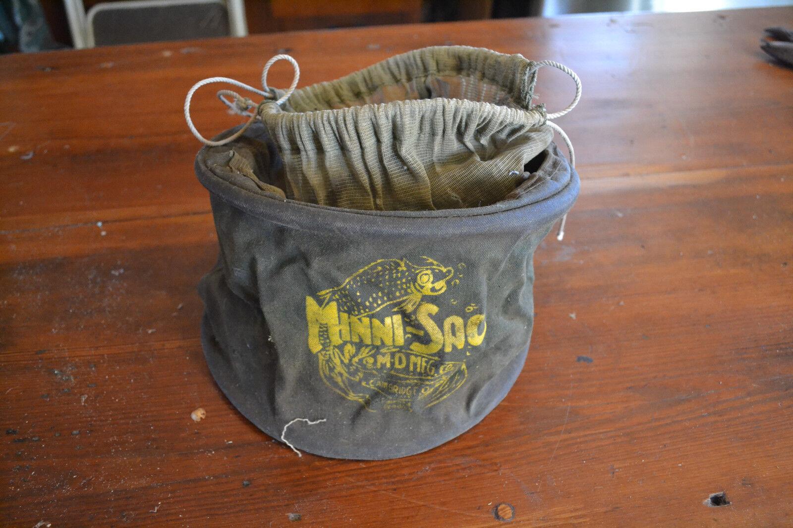 Vintage Fishermans Minni-Sac By M-D MFG Co Cambridge, O.O. Fishing Bag, Creel
