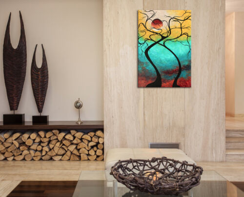 Colorful Abstract Landscape /'Twisting Love III/' Contemporary Tree Wall Decor