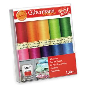"""Gutermann /""""Basic /& Bright/"""" en coton C Nº 50 Thread Set Pack de 10"""