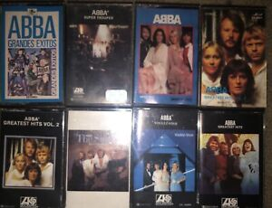 LOT-OF-8-ABBA-CASSETTE-TAPES-2-RARE-PAPER-LABELS-amp-1980-Warner-special-product