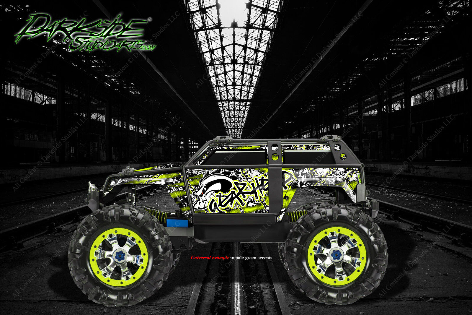 TRAXXAS SUMMIT GRAPHICS WRAP DECALS  GEAR HEAD  FOR OEM BODY PARTS PALE verde